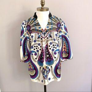 Tibi NY 100% Silk 70s Style Paisley Tunic Top - S